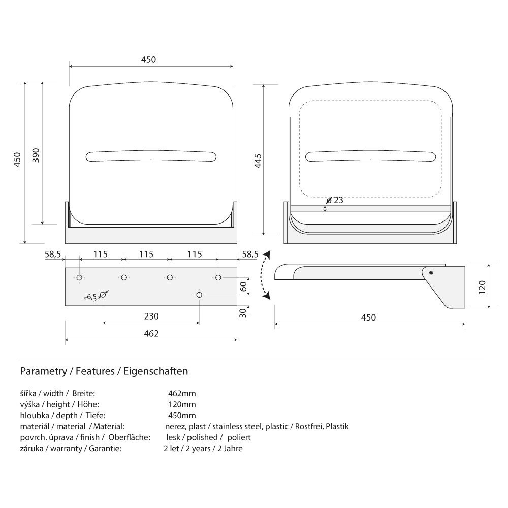 klappsitz f r dusche 462 x 120 x 450 mm edelstahl pvc poliert alles f rs bad barrierefrei ltere. Black Bedroom Furniture Sets. Home Design Ideas