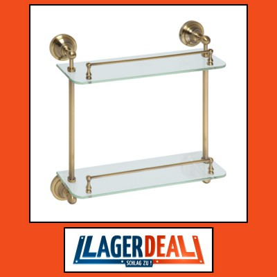 Glasablage mit 2 Ablage 400 x 420 x 120 mm  Messing / Glas Bronze